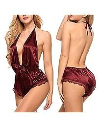 Women Rompers Lingerie Deep V Halter One Piece Teddy Sleepwear Satin Bodysuit