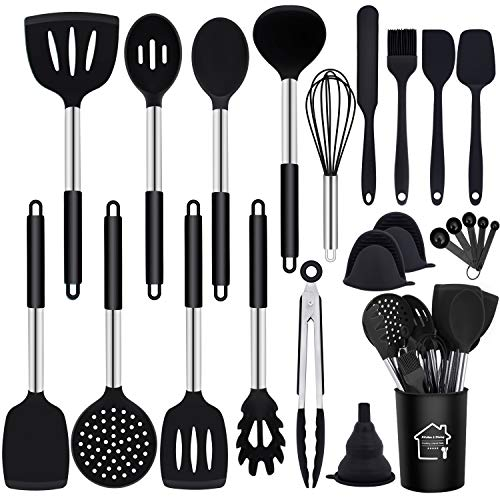 GIOCOCO Kitchen Cooking Utensils Set – 23 PCS Non-stick Silicone Kitchen Gadgets Set with Holder, Stainless Steel Handle…