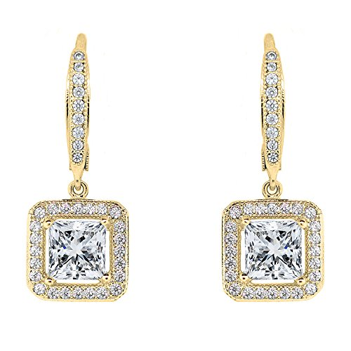 (Cate & Chloe Ivy Faithful 18k Yellow Gold Plated Princess Cut Drop Earrings with Cubic Zirconia Crytals, Women's Gold Plated Earrings, Gold Dangle Earrings for Women, Wedding Anniversary)