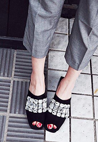 Talons Chunky Ouvert Strass Bout Mules Classique Noir Femme Mode Aisun TnwSqRXOB