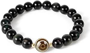 L&C Feng Shui Black Obsidian Beaded Bracelet - Women Mens 8MM Natural Obsidian Crystal Evil Eye Onyx Relief Reiki Healing Stone Protection Link Bracelet Bring Luck Prosperity Wealth