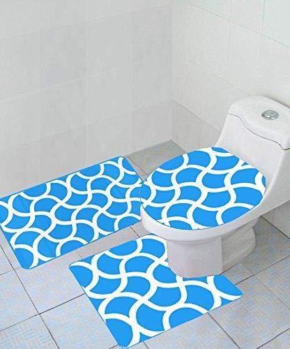 Thick 3 Piece Geometric Wave High Pile Bathroom Set Contour Rug Toilet Lid Cover New ()