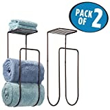 #10: mDesign Wall Mount Towel Rack With Shelf for Bathroom or Linen Closet - Pack of 2, Bronze