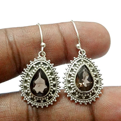 Kanika Jewelry Trove Smoky Quartz Solid 925 Sterling Silver Earrings