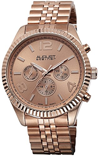 August Steiner Men's AS8096RG Swiss Quartz Multifunction Rose-tone Stainless Steel Bracelet Watch