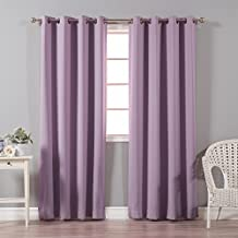 "Best Home Fashion Thermal Insulated Blackout Curtains - Antique Bronze Grommet Top - Lavender - 52""W x 84""L – Tie backs included (Set of 2 Panels)"