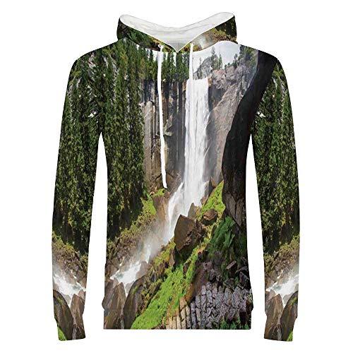 - Yosemite Sweatshirt,Vernal Fall Yosemite National Park Alpine Forest Rocks Wild Natural Scenic Photo Hooded for Men & Boys,Medium