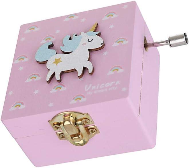 Ruiting Caja M/úsica Unicornio,Caja de M/úsica en forma lindo Regalo para ni/ños cumplea/ños Decoraci/ón de San Valent/ín de hogar Azul