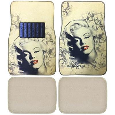 Marilyn Monroe Print Design Carpet Car SUV Truck Floor Mats 4 PCS: Automotive