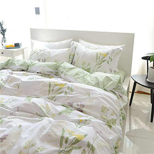 FADFAY Shabby Green Floral Duvet Cover Set Green Yellow Purple Blue Flowers Cotton Bedding Set 3 Pcs(1duvet Cover & 2pillowcases)California King Size by FADFAY (Image #5)