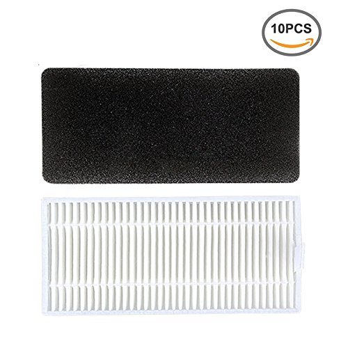 Large Product Image of Replacement Filter Kit for Ecovacs DEEBOT N79 Robotic Vacuum Cleaner ( 10 Pcs of Filters & 10 Pcs of Sponges )