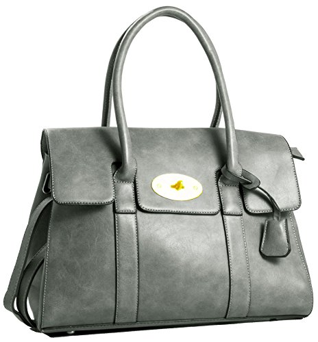 Grey Boutique Handle Large Vegan Shop Womens Leather Handbag Shoulder Tote Big Top Designer Bag OY46pwq