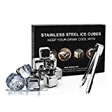 Anyfun Whiskey Stones Surgical Grade Stainless Steel Drink Coolers Reusable Ice Cubes Chilling Stones With Tongs 8 Packs Chilling Rocks