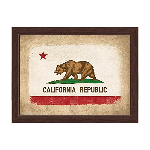 (Distressed State Flag of California Republic Framed Canvas Art Print Wall Décor 24x36)