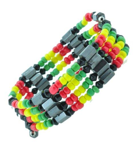 Rasta Magnetic Simulated Hematite Beaded Necklace, Wrap Bracelet, Anklet - Magnetic Hematite Wrap Bracelet