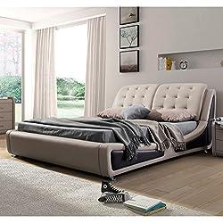 US Pride Furniture B8049-EK Victoria Leather Contemporary Platform Bed, Eastern King, Brown