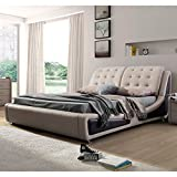 US Pride Furniture B8049-EK Victoria Leather Contemporary Platform Bed, Eastern King, Brown For Sale