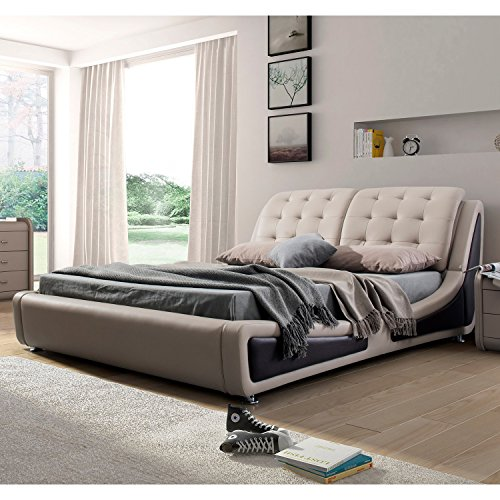 US Pride Furniture B8049-CK Victoria Leather Contemporary Platform Bed, California King, Brown (Bedroom Contemporary Headboard)