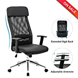 LCH Extra High Back Mesh Office Chair - Computer Desk Task Chair with Padded Leather Headrest and Seat,Adjustable Armrest,Ergonomic Design for Back Lumbar Support, Black