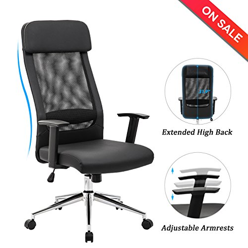 LCH Extra High Back Mesh Office Chair - Computer Desk Task Chair with Padded Leather Headrest and Seat,Adjustable Armrest,Ergonomic Design for Back Lumbar Support, (Padded Head)