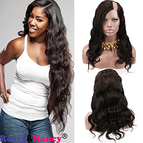 Rossy&Nancy Natural Looking 7A Brazilian Human Hair U Part Lace Front Wig with Baby Hair Natural Black Color for White Women 20inch (Best U Part Wigs)