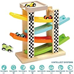 This toddler race track toy is fully tested to the highest U.S ASTM F963 and European EN71 toy safety standards. Wooden car ramp is a simple and well-built toy. Suitable for toddler age 18 Months+. This toddler toy is best present in toddler'...