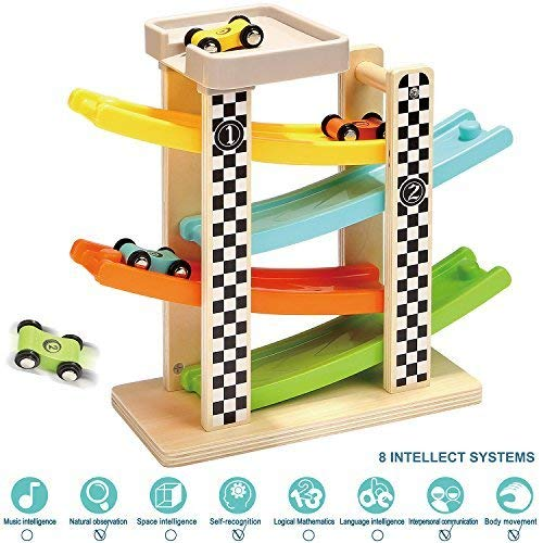 TOP BRIGHT Toddler Toys For 1 2 Year Old Boy And Girl Gifts Wooden Race Track Car Ramp Racer With 4 Mini Cars (Car Ramp Toy)