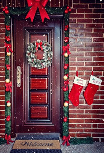 CSFOTO 4x6ft Background for Christmas Front Door with Wreath Photography Backdrop Christmas Socks Chaplet Christmas Decoration Ribbon Fir Berry Celebration Photo Studio Props Polyester Wallpaper