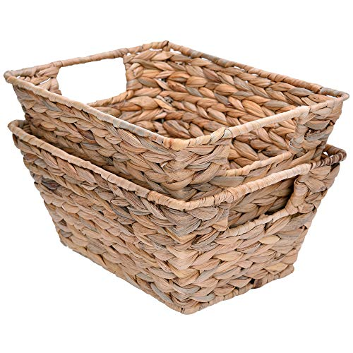 StorageWorks Water Hyacinth Storage Baskets, Woven Baskets with Built-in Handles, 12