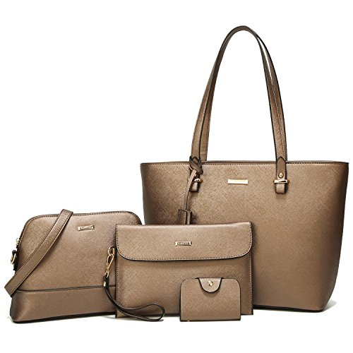 ELIMPAUL Women Fashion Handbags Tote Bag Shoulder Bag Top Handle Satchel Purse Set 4pcs