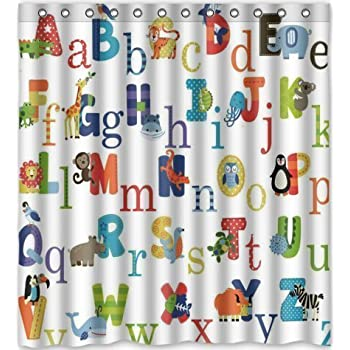 ABC Alphabet Waterproof Fabric Polyester Bathroom Shower Curtain 60X72  Inches