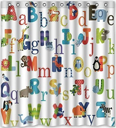 YEHO Art Gallery ABC Alphabet Waterproof Fabric Polyester Bathroom Shower Curtain 60X72 Inches