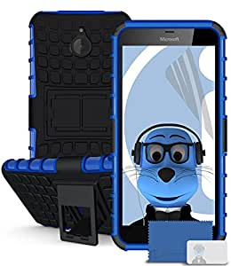iTALKonline Microsoft Lumia 640 XL Blue Black Tough Hard Shock Proof Rugged Heavy Duty Case Cover with Viewing Stand and LCD Screen Protector Guard