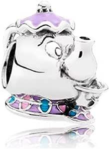 JCaleydo Charm, Tetera, Plata de Ley 925 con *Caja Regalo* Compatible con Pulsera Pandora & Europeo, Charms para Mujer Niña