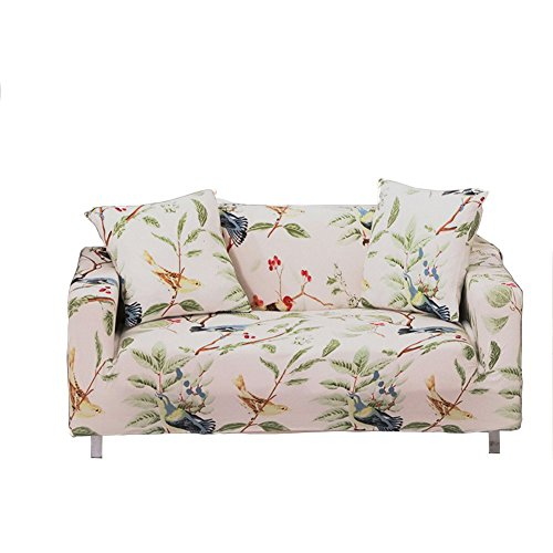 - ENZER Stretch Sofa Slipcover Flower Bird Pattern Chari Loveseat Couch Cover Elastic Fabric Kids Pets Protector (2 Seater, Bird Pattern)
