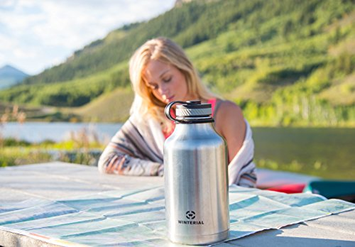 Winterial 64 Oz Insulated Water Bottle Wide Mouth Beer Growler (Stainless Steel) by Winterial (Image #4)