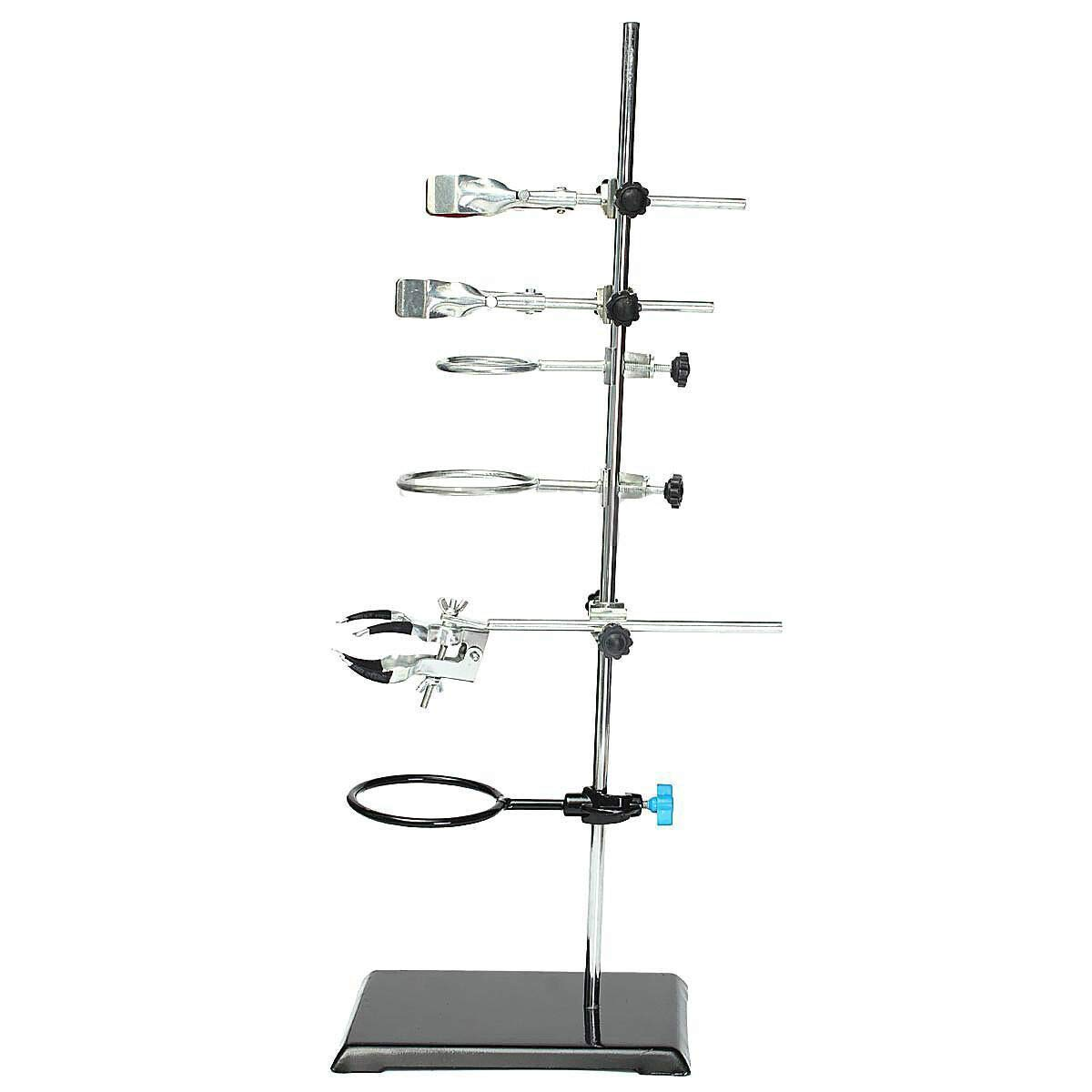 Laboratory Stands,60cm Lab Clamp Flask Condenser Pipe Support Set with Test Tube Clamp Support Rings(USA Stock)