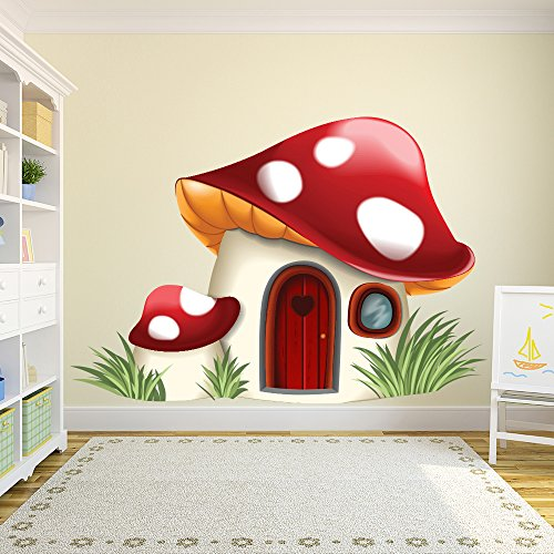 azutura Toadstool House Wall Sticker Fairy Tale Fantasy Wall Decal Bedroom Nursery Decor available in 8 Sizes XXX-Large Digital