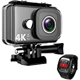 TEC.BEAN 4K Action Camera WiFi 14MP Ultra HD Waterproof Sports Cam 148ft/45M Underwater Camera with 170 Degree Wide Angle Lens and 2.4G Remote, Rechargeable Battery and Accessories Kits