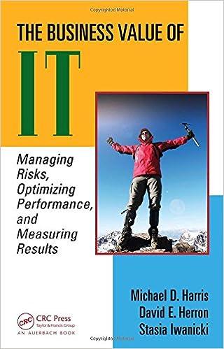 The Business Value Of It Managing Risks Optimizing Performance And Measuring Results Harris Michael D S Herron David Iwanicki Stasia 9781420064742 Amazon Com Books