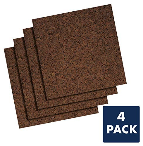 Cork Panel Dark - Quartet Cork Panels, Self-Stick, 12 x 12 Inches, 4 per Pack, Dark Natural (QRT101Q)