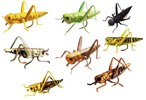 Grasshopper Flies - Lifelike Hopper Fishing Flies - set of 8 - in Tan, Yellow, Green, Gray, Brown, Yellow/Brown, Yellow/Black, Black Cricket (Assorted, Size 8)
