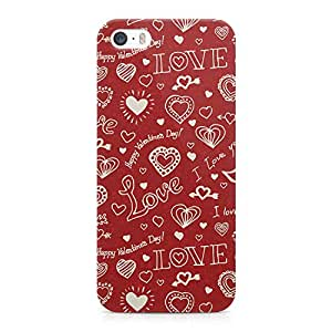 Loud Universe Valentines Day Couples Love Heart Pattern Durable Wrap Around iPhone SE Case - Red