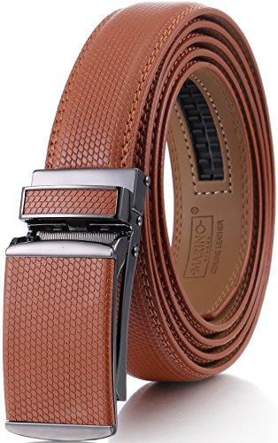 Genuine Belt (Marino Men's Genuine Leather Ratchet Dress Belt with Linxx Buckle, Enclosed in an Elegant Gift Box - Tan - Style 166 - Custom: Up to 44