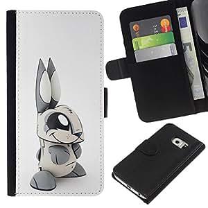 All Phone Most Case / Oferta Especial Cáscara Funda de cuero Monedero Cubierta de proteccion Caso / Wallet Case for Samsung Galaxy S6 EDGE // Toy Rabbit Grey White Long Ears