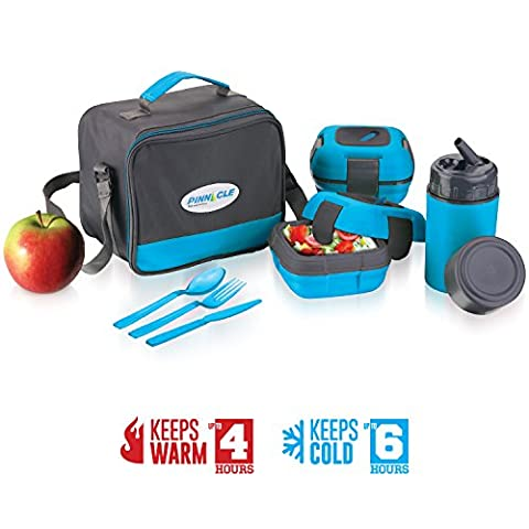 Insulated Lunch Box Bag Set for Adults and Kids ~ Pinnacle Insulated Leakproof Thermal Lunch KitLunch BagThermo bottle2 Lunch Containers With NEW Heat Release ValveMatching Cutlery - Flow Blue Plate