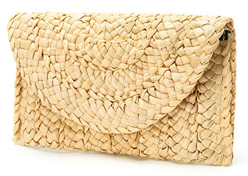 Obosoyo Women's Straw Clutch Handbag Straw Purse Envelope Bag Wallet Summer Beach Bag Woven Bag Purse ()