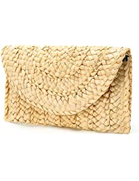 Women's Straw Clutch Handbag Straw Purse Envelope Bag Wallet Summer Beach Bag Woven Bag Purse Wallet