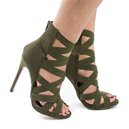 Zapatos de la sandalia del partido de las sandalias de vestir Pasarela Army green