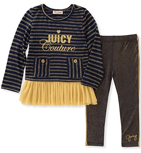 Juicy Couture Girls' Legging Set, Medieval Blue/Gold,